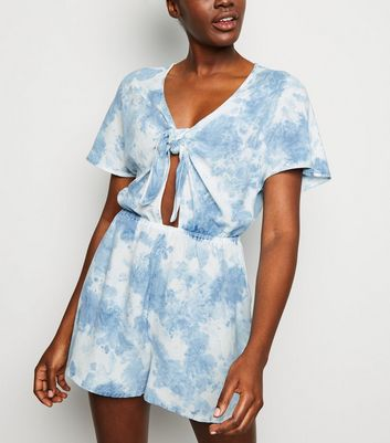 Blue Tie Dye Knot Front Playsuit