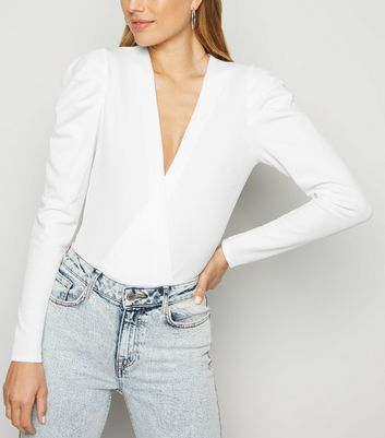 White Puff Sleeve Plunge Bodysuit