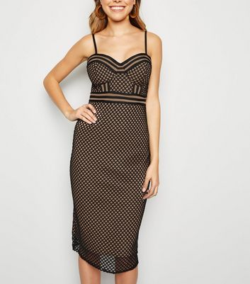 Black Fishnet Corset Bodycon Midi Dress