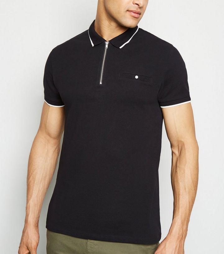 db49e8606a5d4 Black Tipped Zip Front Polo Shirt Add to Saved Items Remove from Saved Items