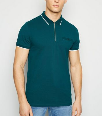 Teal Tipped Zip Front Polo Shirt