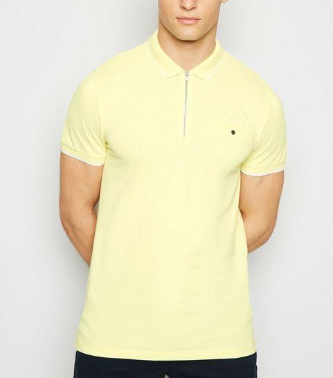 9ebf2cf7db8a ... Pale Yellow Tipped Zip Front Polo Shirt ...