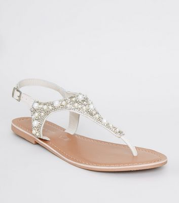 Off White Leather Faux Pearl and Bead Sandals