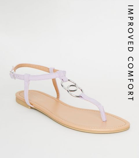 7d0f57243fe6 ... Lilac Ring Strap Flat Sandals ...