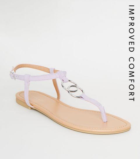 32b47596332c ... Lilac Ring Strap Flat Sandals ...