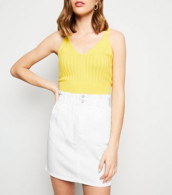 White Paperbag Denim Skirt