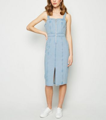 Blue Ring Zip Denim Midi Dress