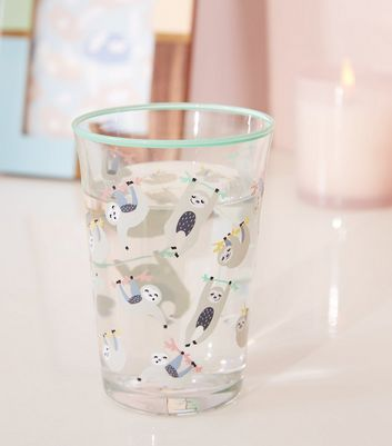 Green Sloth Print Tumbler Glass