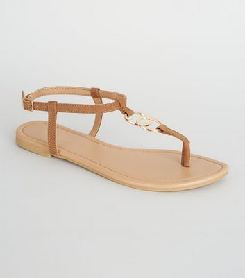 Tan Hammered Ring Strap Flat Sandals