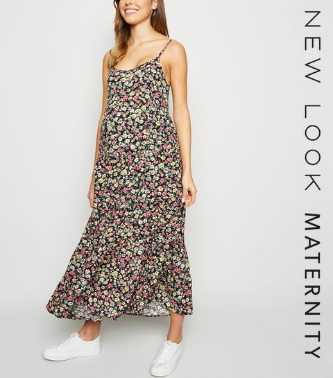 cf6dbefc371 ... Maternity Black Floral Tiered Midi Dress ...