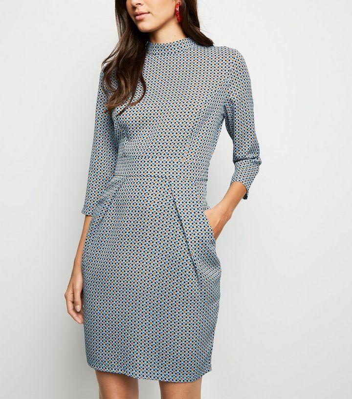 f58740b273069 Blue Vanilla Blue Geometric Tulip Dress | New Look