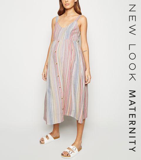 3225e1244bb ... Maternity White Stripe Linen Look Midi Dress ...