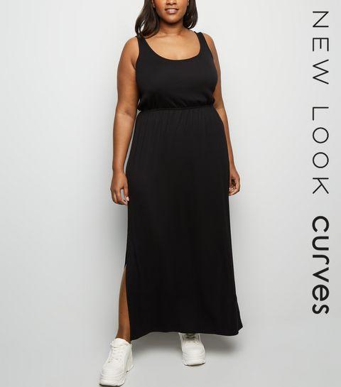 ecb93e0041 ... Curves Black Elasticated Waist Jersey Maxi Dress ...