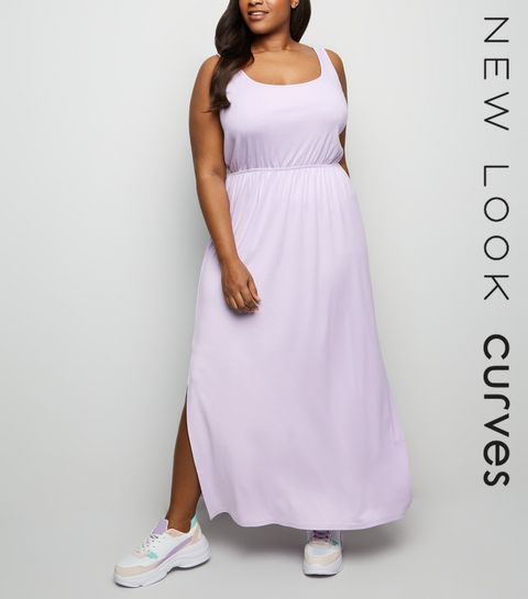 ... Curves Lilac Elasticated Waist Jersey Maxi Dress ... 2480899ae