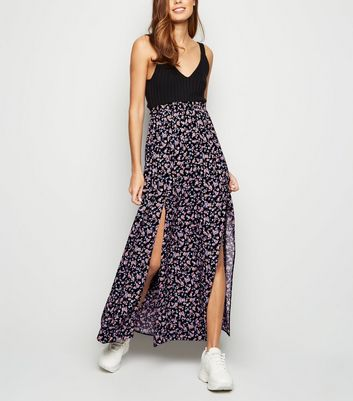 Black Ditsy Floral Split Maxi Skirt