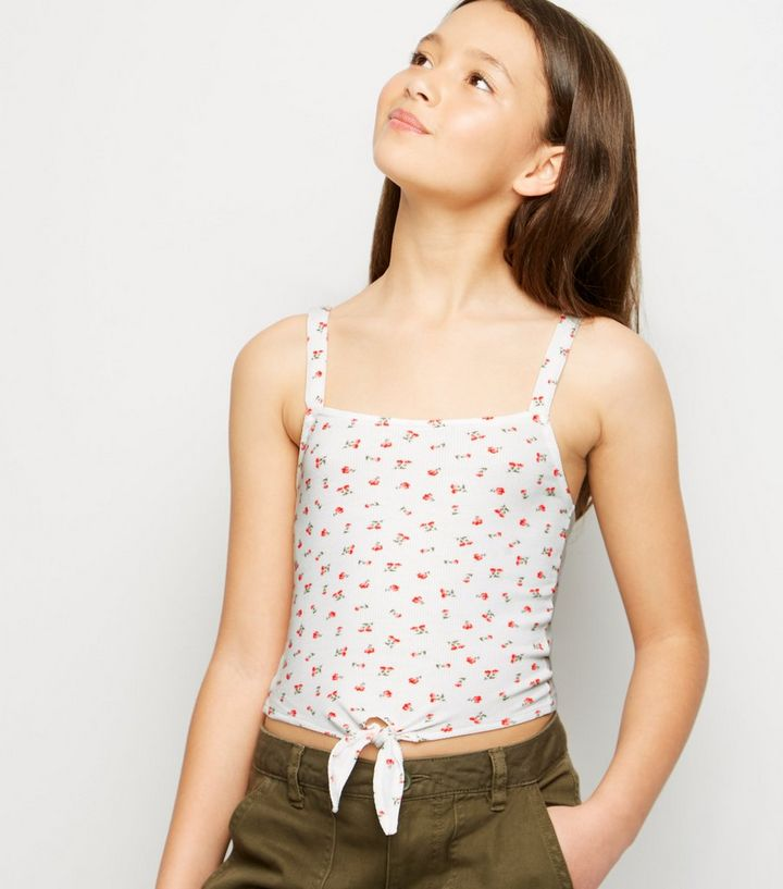 8349d3c72f85 Girls White Ditsy Floral Ribbed Tie Cami | New Look