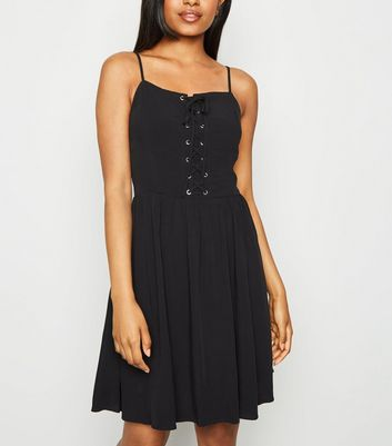 Petite Black Lace Up Skater Dress