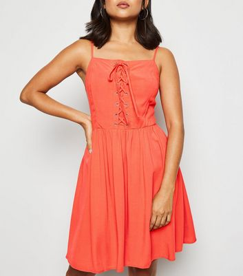 Petite Red Lace Up Skater Dress