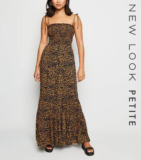 e876ef92408 ... Petite Navy Leopard Print Shirred Maxi Dress ...