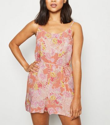 Petite Pink Floral Paisley Playsuit
