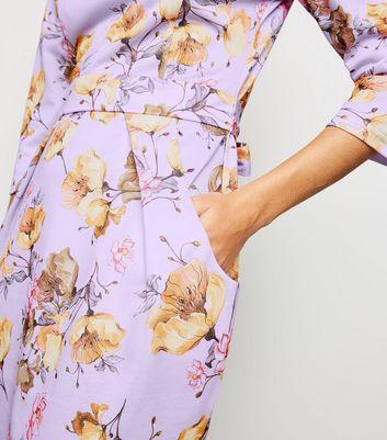 shop for Blue Vanilla Lilac Floral Tulip Dress New Look at Shopo