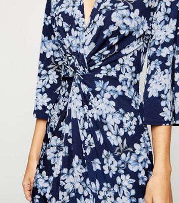 shop for Blue Vanilla Blue Floral Twist Front Dress New Look at Shopo