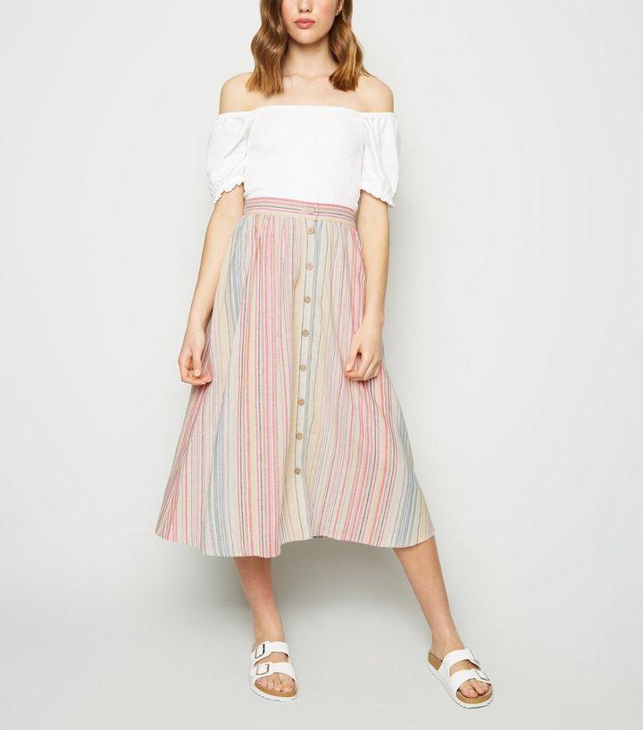 181ae41c5b8d White Stripe Linen Blend Button Up Midi Skirt | New Look