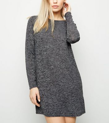 Dark Grey Long Sleeve T-Shirt Dress