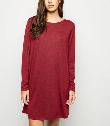 Burgundy Long Sleeve T-Shirt Dress