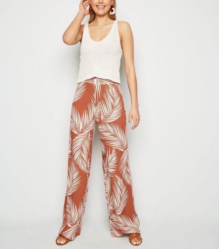 b389ccb7f52076 Tall Rust Palm Print Wide Leg Trousers