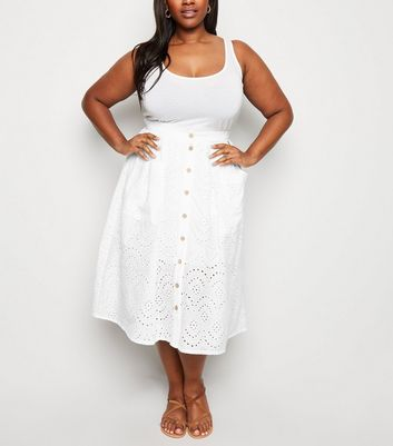 Curves White Broderie Midi Skirt