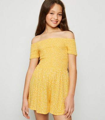 Girls Yellow Ditsy Floral Shirred Bardot Playsuit