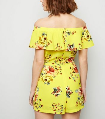 ab658631f9c6 Cameo Rose Yellow Floral Bardot Playsuit New Look