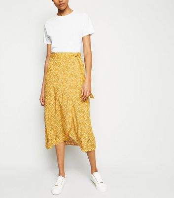 Tall Yellow Ditsy Floral Wrap Midi Skirt