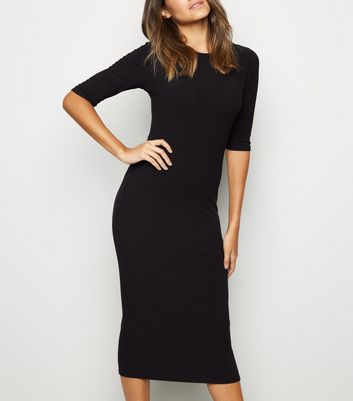 Black Crew Neck Midi Dress