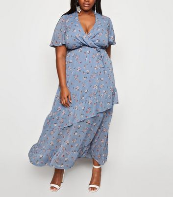 Curves Blue Floral Ruffle Wrap Dress