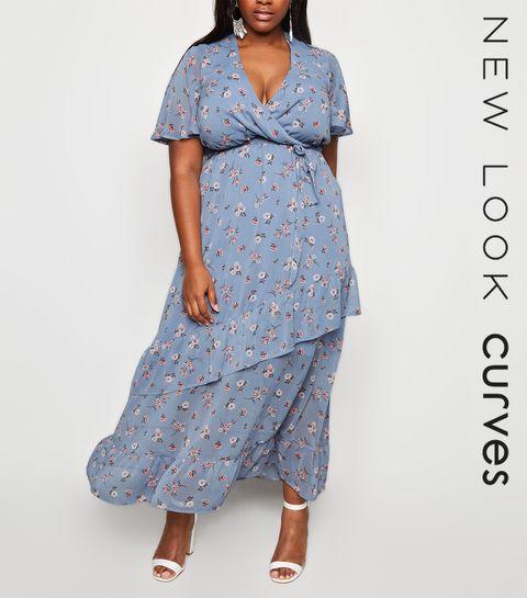 099ff29f6ab ... Curves Blue Floral Ruffle Wrap Dress ...