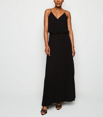 Black Pleated Layered Maxi Dress