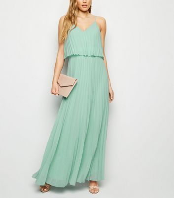Light Green Pleated Layered Maxi Dress