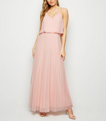 Pale Pink Pleated Layered Maxi Dress