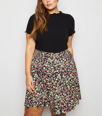 Curves Black Floral Button Up Skater Skirt