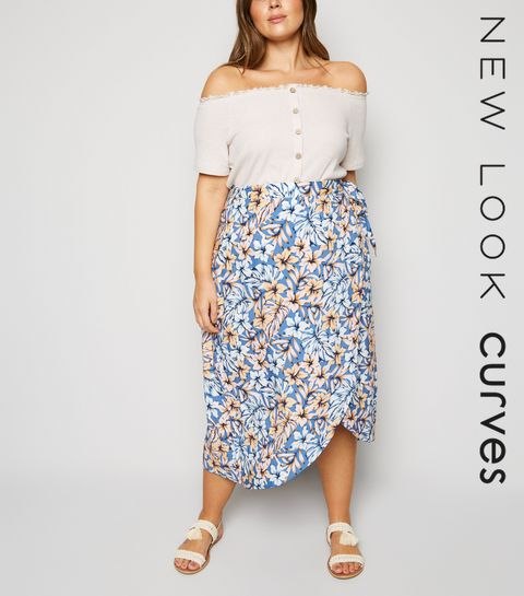 6ad267c3b65 ... Blue Tropical Floral Wrap Midi Skirt ...