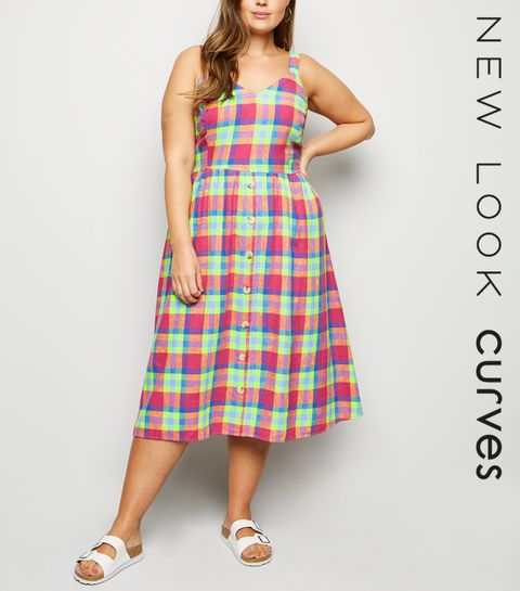 9f649f9914c ... Curves Pink Check Linen Blend Midi Dress ...