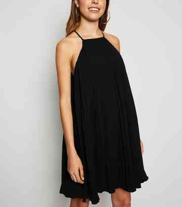 Black Pleated Halterneck Shift Dress