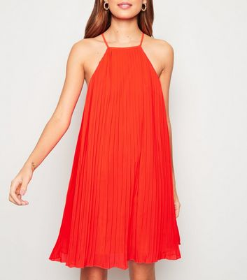 Red Pleated Halterneck Shift Dress