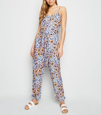 Tall Blue Tropical Print Cuffed Jumpsuit