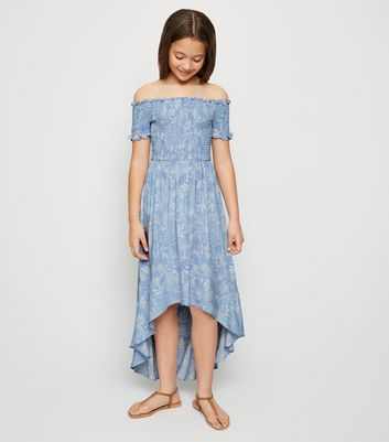 Girls Blue Floral Shirred Dip Hem Maxi Dress
