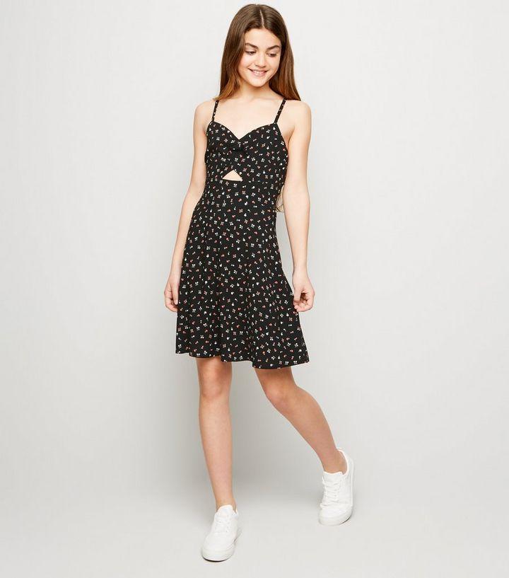 6d8730b2e668e Girls Black Floral Cut Out Dress