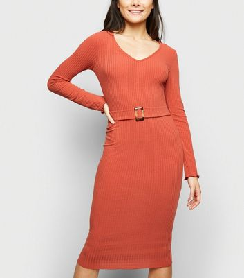 Rust Belted Bodycon Midi Dress
