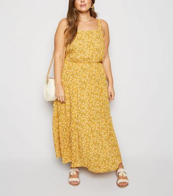 Curves Mustard Ditsy Floral Cheesecloth Maxi Dress